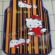 Karpet Mobil Universal Motif Hello Kitty Hati Angel Garis Orange List Biru