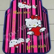 Karpet Mobil Universal Motif Hello Kitty Hati Angel Garis Pink List Biru