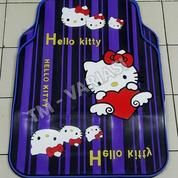 Karpet Mobil Universal Motif Hello Kitty Hati Angel Garis Biru List Biru