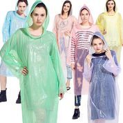 Jas Hujan Plastik Ponco Model Poncho Kresek Simple Ringan Darurat Raincoat