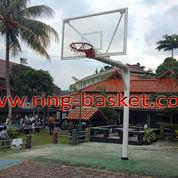 Ring Basket Tiang Tanam Dengan Papan Pantul Basket Tempered Glass 12 Mm