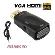 Adapter HDMI To VGA And With + Port Audio AUX For HDTV Full HD 1080p (19659587) di Kota Surakarta