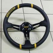 Stir Racing Import Momo Drifting Carbon Celong 14 Inchi Palang Hitam List Kuning (20058379) di Kota Jakarta Pusat