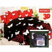 Bed Cover Flat Bonita Ukuran 220x220 Motif Butterfly