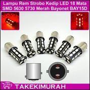 Lampu Stop Lamp Rem LED Warna Merah Kedip Strobo Socket Putar 12V DC