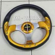 Stir Racing Momo 13 Inchi Import Palang Silver Motif Gold 9 Baut (20389863) di Kota Jakarta Pusat