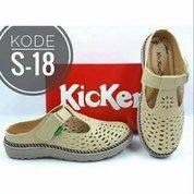 Sandal Cewek Slip-On Kickers Kode S-18 Cream TERMURAH PREMIUM QUALITY (20584883) di Kota Bandung