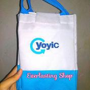 Tas Ice Cool Bag Lunch Box Putih Biru Yoyic Rantang Bekal Makanan Panas Dingin Alumunium Foil