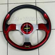 Stir Racing Momo 13 Inchi Import Merah Motif Tinggi Palang Silver Universal (21251491) di Kota Jakarta Pusat