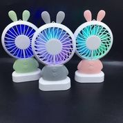 Mini Fan Karakter Bear & Bunny Kipas Angin With Lampu LED