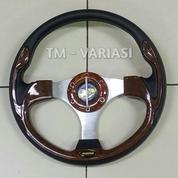 Stir Racing Momo 13 Inchi Import Wood Motif Tinggi Palang Silver Universal (21315439) di Kota Jakarta Pusat
