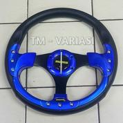 Stir Racing Momo 13 Inchi Import Biru Motif Rendah Baut Palang Hitam Universal (21315611) di Kota Jakarta Pusat