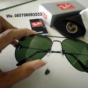 Kacamata Rayban Aviator Black Dark Green Lens