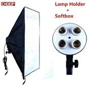 Paket Lamp Holder E27 4 Socket Lampu + Softbox 50 X 70