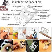 Pisau Kartu Stainless 11 In 1 Multifungsi Survival Kit Tool Card Alat Outdoor