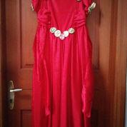 Gaun Elegan Red Berpita & Hiasan Bunga (2222350) di Kota Jakarta Pusat