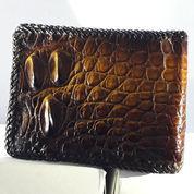 FULL GARANSI, Dompet Kulit Buaya Asli Papua Model Sulam