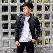 Jaket Kulit Pria Hitam, Leather Jacket Bikers Alpha109