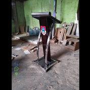 Furniture Minimalis Mimbar Stainless Kombinasi Kayu Jati Solid Jepara