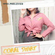 Preloved Pl Baju Kemeja Atasan Top Outer Coral Wanita Cewek Murah Korean Vintage Bohemian Casual (22753947) di Kab. Indramayu