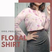 Preloved Pl Baju Kemeja Atasan Top Motif Floral Flower Binga Wanita Cewek Korean Vintage Summer