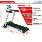 Treadmill Elektrik Motor 3 HP Total Fitness TL-123 Auto Incline
