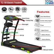 Alat Fitness Treadmill Elektrik 5 Fungsi Motor 2 HP TL-130 Manual Incline Total Fitness
