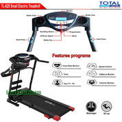 Alat Fitness Treadmill Elektrik 3 Fungsi Motor 1.5 HP TL-629 Manual Incline Total Fitness