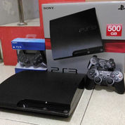 PS3 Slim Terbaik HD 500GB Full 100 Judul Game & 2 Stik PS3