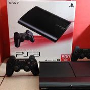 PS3 Super Slim 500GB Top Banget,Lkp 2 Stik+100 Judul Game