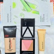 Paket 1 (Maybelline V Face, Loreal Foundation, Innisfree Concelar, Innisfree Mask)