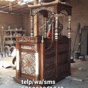 Mimbar Masjid Tiang Putih Kombinasi Cat Marmer Murah