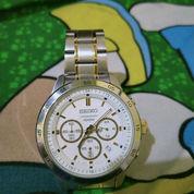 Seiko Quartz SKS523P1 Chronograph White Dial Jam Tangan Pria - Silver.Pemakaian Hanya 4 Kali Kurang