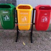 Tempat Sampah Tiga Warna Model Oval
