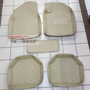 PREMIUM Karpet Mobil 5D Model Mangkok Universal Warna Cream Kombinasi Benang Cream