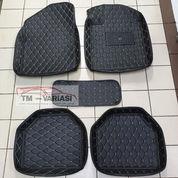 Karpet Mobil 5D Model Mangkok Universal Warna Hitam Kombinasi Benang Cream