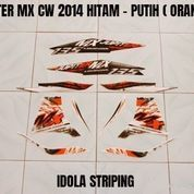 Striping Jupiter MX CW 2014 Hitam - Putih ( Orange )