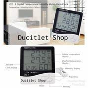 Humidity Jam Digital Temperature Sensor Suhu Hygrometer Clock Thermometer HTC
