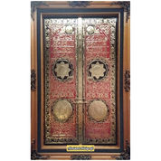 Kaligrafi Pintu Ka'bah Kuningan Asli Size.150x100cm.Blok Merah Gradasi Artistik