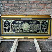 Jam Dinding Kaligrafi Ayat Kursi Kuningan Asli Size.140x60cm.Blok Hitam Mewah