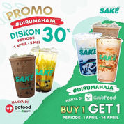 Sake Diskon 30% via GoFood dan Grabfood + Buy 1 Get 1