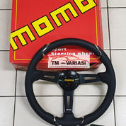 Stir Racing Import Momo Leather Super Premium Quality 14 Inchi Hitam Model List Chrome (25507059) di Kota Jakarta Pusat