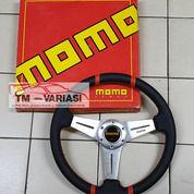 Stir Racing Import Kulit Momo 14 Inchi Datar Palang Silver Double List Merah (25545023) di Kota Jakarta Pusat