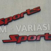 Emblem Logo Besi Tebal Tulisan Sports Merah Dasar Hitam (25919691) di Kota Jakarta Pusat