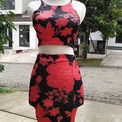 Mini Dress Crop Top Set Motif Merah Gold (26013307) di Kota Tangerang Selatan