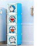 Lemari 4 Susun Ringan Doraemon Biru Empat Tingkat Rak Pakaian Anak Kos Praktis (26258075) di Kota Surabaya