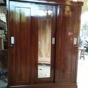 Lemari Pakaian Jati Minimalis 3 Pintu Sleding Code G5 (26438371) di Kota Tangerang