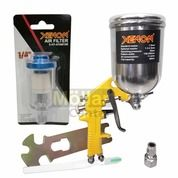 PAKET HEMAT Spray Gun XENON F75G Tabung Atas 400cc Dan Air Filter Kompresor XENON (26486439) di Kota Magelang
