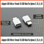 Adapter USB Micro Female To USB Male For Iphone 5 5S 6 6S (26536855) di Kab. Grobogan