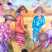 Lukisan Damar Panen Rejeki Original Akrilik Di Canvas Dari Bali (26668191) di Kab. Badung